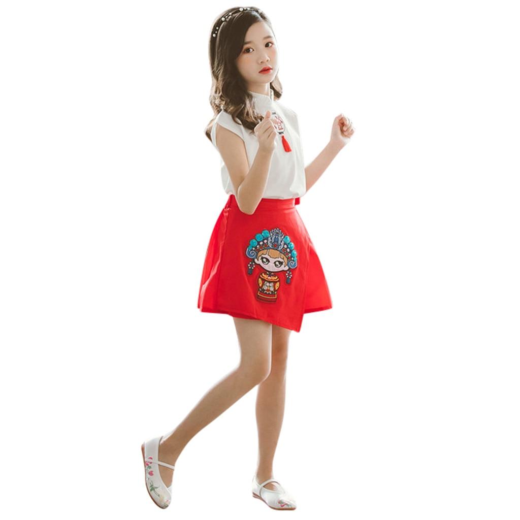 Traditional Chinese Clothing Teen Kids Girls Cartoon Lantern T Shirt Tops Skirt Tang Suit 2PC Outfits Set