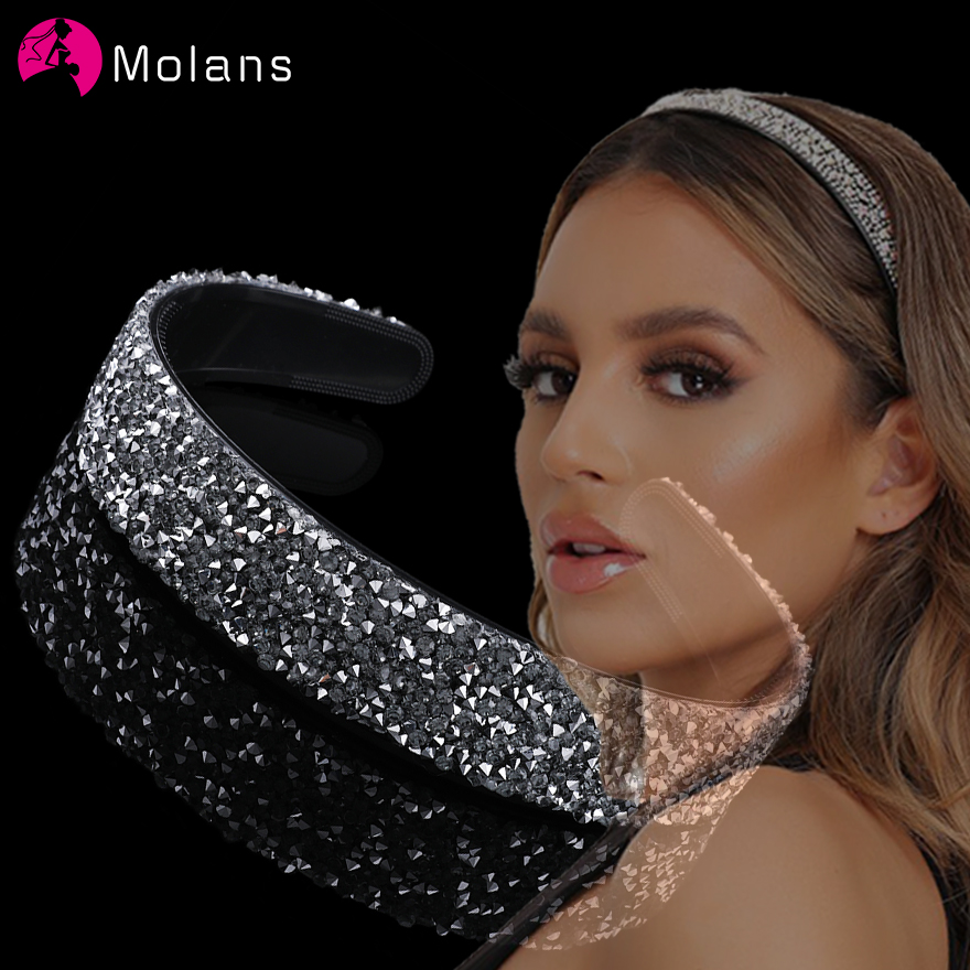 Molans Charming Tattered Drill Hairbands Non-slip Toothed Plastic Female Fashion Headbands Full Rhinestone Girl Hair Accessories