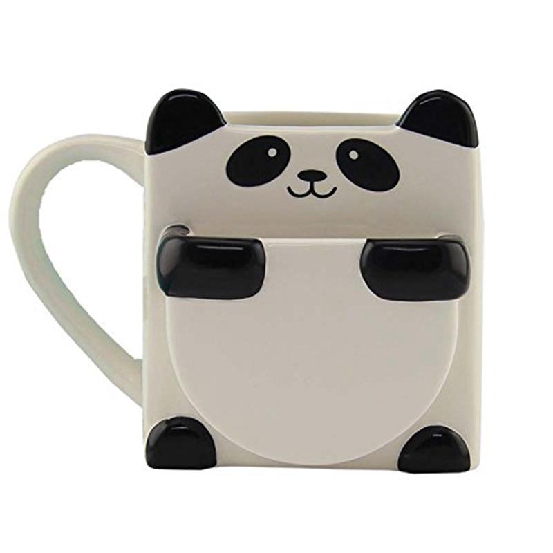 3D Cartoon Panda Coffee Mugs Double Biscuits Ceramic Tea Cups Creative Mark Drinkware Christmas Gifts