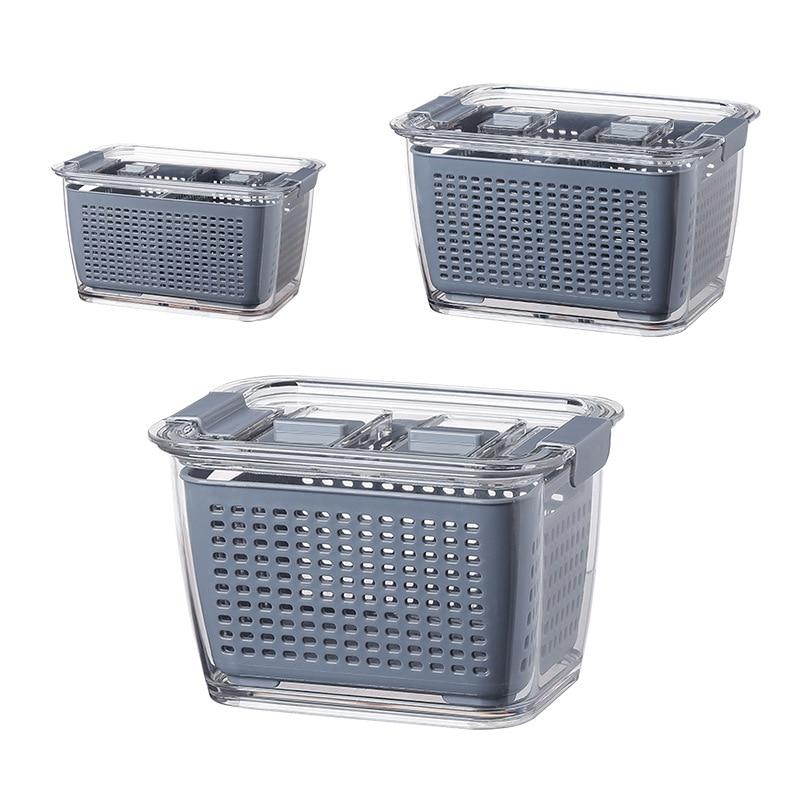 Kitchen Plastic Storage Box Fresh-Keeping Box Refrigerator Fruit Vegetable Drain Crisper Kitchen Storage Containers With Lid 4