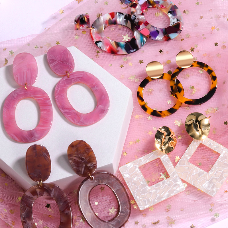 Geometric Acrylic Fashion Statement Drop Earrings For Women Vintage Resin Oval Round Dangle Earring 2020 Brincos Wedding Jewelry
