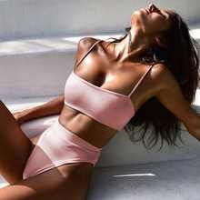 Sexy High Waist Bikini Set Swimsuit Popular Swimming Suit Biquini Two Pieces Solid High Quality Swimwear Women Fashion Beachwear cheap SECOMJOY Ages 18-35 Years Old Bikinis Set Wire Free K1954 Fits true to size take your normal size Polyester spandex Elegant fashion