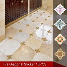 15PCS 8X8CM Tile Diagonal Stickers Floor Stickers Floor Decoration Stickers Waterproof And Wear-resistant Self-adhesive volcanic lava patterned decoration floor stickers