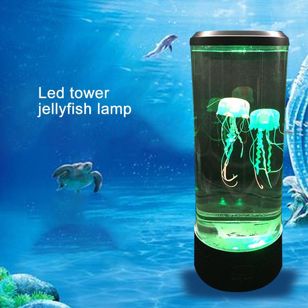 Fantasy USB Powered Color Changing Atmosphere LED Night Light Bedside Lamp Hypnotic Jellyfish Desktop Mood Table Aquarium