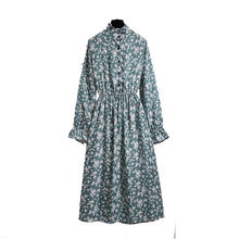 Осеннее модное женское платье с длинным рукавом и принтом повседневное