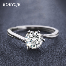 BOEYCJR 925 الفضة 0.5ct F اللون مويسانيتي VVS المشاركة خاتم الماس الزفاف مع شهادة وطنية للنساء قابل للتعديل