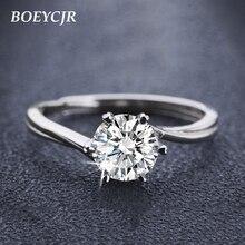 BOEYCJR 925 Silber 0.5ct F farbe Moissanite VVS Engagement Hochzeit Diamant Ring Mit nationalen zertifikat für Frauen Einstellbar