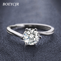 BOEYCJR 925 Silver 0.5ct F color Moissanite VVS Engagement Wedding Diamond Ring With national certificate for Women Adjustable