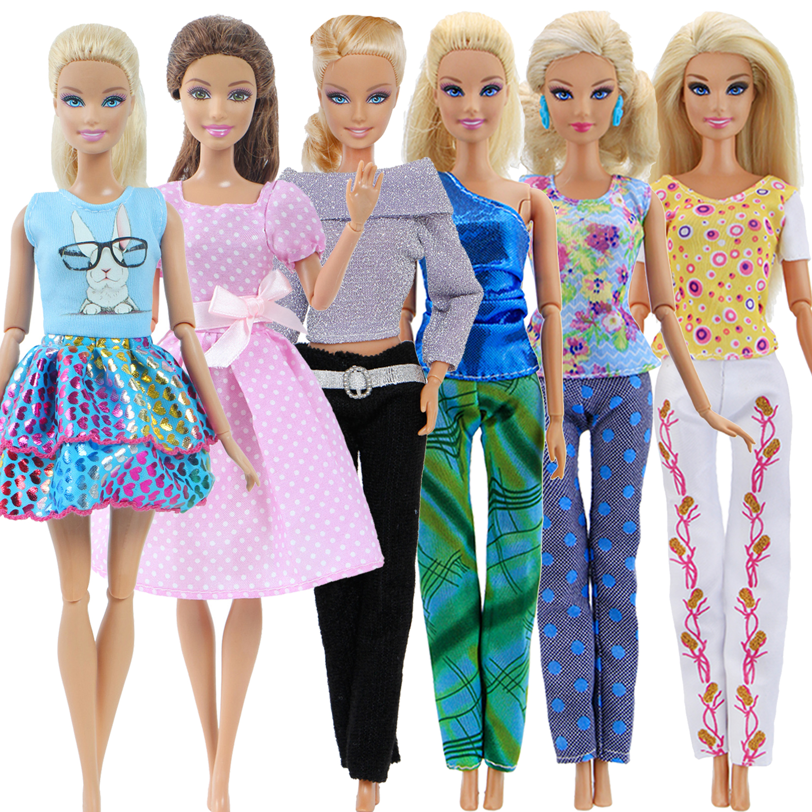 6x Daily Doll Clothes = 2 Cute Girl Dress + 4 Lady Outfits For Barbie Doll House Accessories Kid Toy Set Blouse Pants Trousers