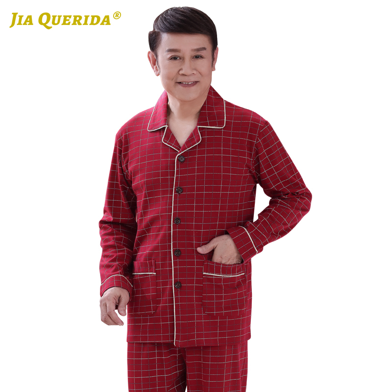 Plaid Printing Red Pajamas For Men Xxxxl Father' Sleepwear Turn Down Collar Homesuit Homeclothes Fashion Style Casual Style