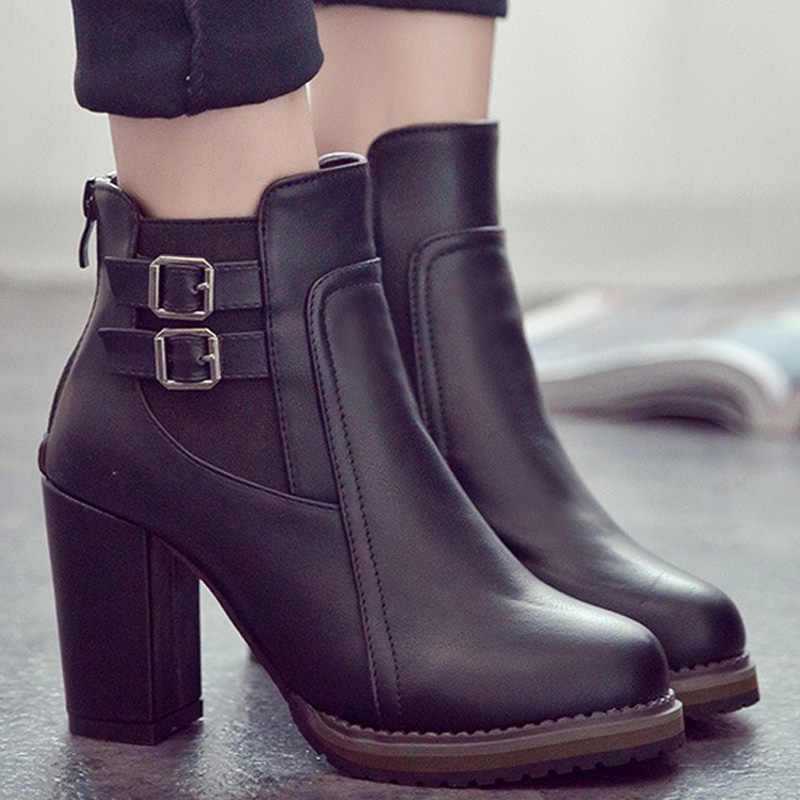 Fashion Ankle Boots Genuine Leather Boots Women Wedges High Heel Boots Female Winter Women Boots Black Zipper Platform Booties