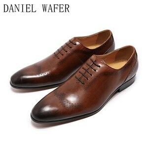 Image 4 - Design de mode hommes Oxford en cuir véritable chaussures noir marron à lacets pointu bureau de mariage de luxe hommes chaussures habillées pour chaussures