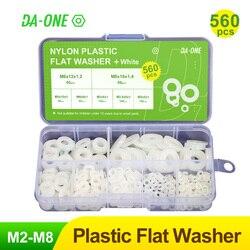 DA-ONE 560pcs White/Black Nylon Plastic Flat Washer Set M2/M2.5/M3/M4/M5/M6/M8 Plastic Washer Insulation Leak-Proof Gaskets Kit