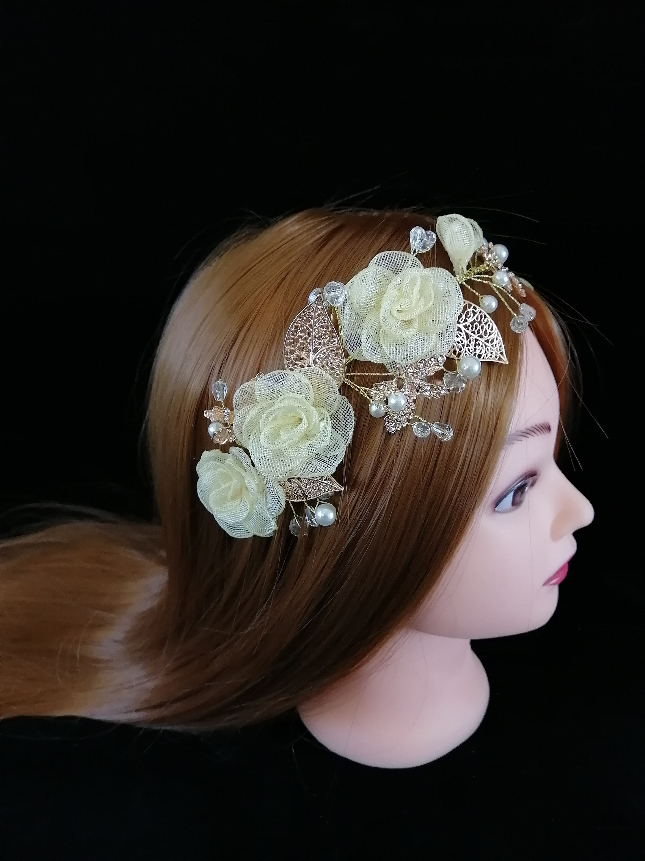 Korean Fashion Luxury Sparkly Yellow 3D FLoral Hairband Bridal Wedding Rhinestone Tiara For Women Hair Comb Accessories Jewelry
