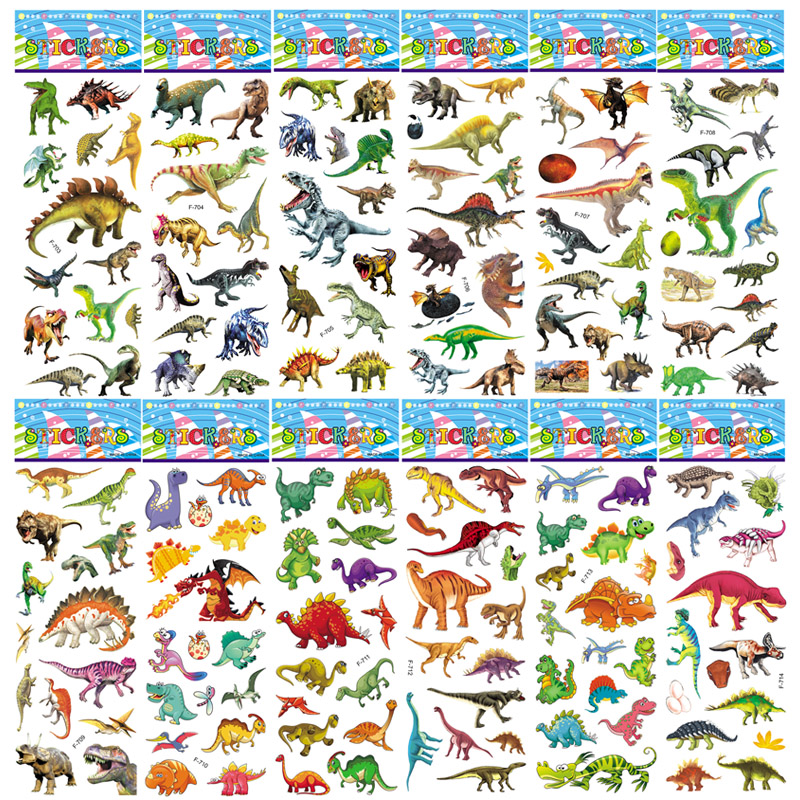 6 Sheets Jurassic World 3D Bubble Puffy Dinosaur Stickers Cartoon Animal DIY Toys For Children Boys Waterproof Pegatinas