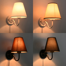 Modern LED Cloth Wall Lamp Wall sconce Light Hallway Bedroom Bedside Light flaxen/black/white vintage iron american wall lamp modern edison wall light bedroom hallway sconce retro indoor wall lamp reading bedside led lamp