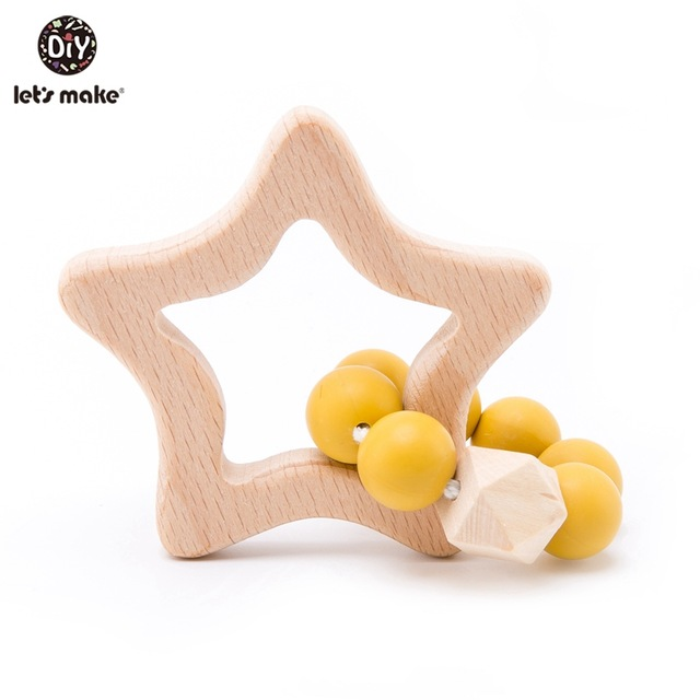 Yellow Star Wooden Teether