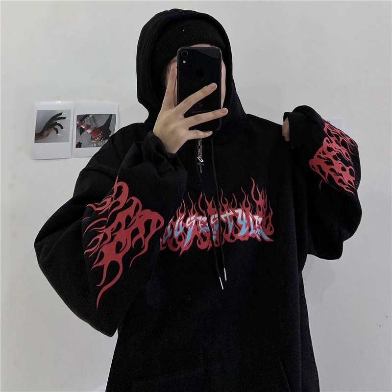 Cool Autumn Flaming Fire Print Hoodie Woman Streetwear 2020 Black Punk Tops Casual Loose Hip Hop Pullover Hoodies Sweatshirts