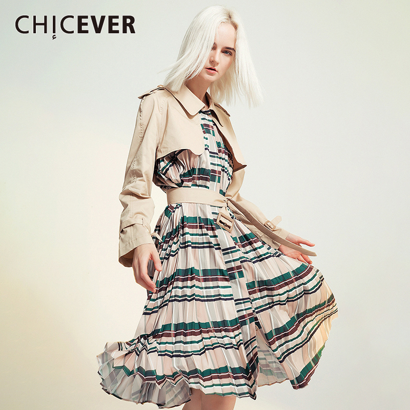 CHICEVER Patchwork Plaid Women's Windbreaker Lapel Collar Long Sleeve High Waist With Sashes Coat Female Fashion 2020 Clothing