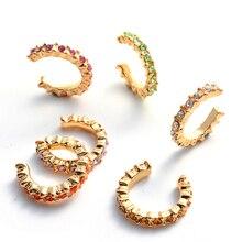 6pcs Boho Rhinestone Ear Cuff Earrings Colorful Cubic Zircon Stone Round Cartilage Clip on Helix Earring No Pierced Jewelry