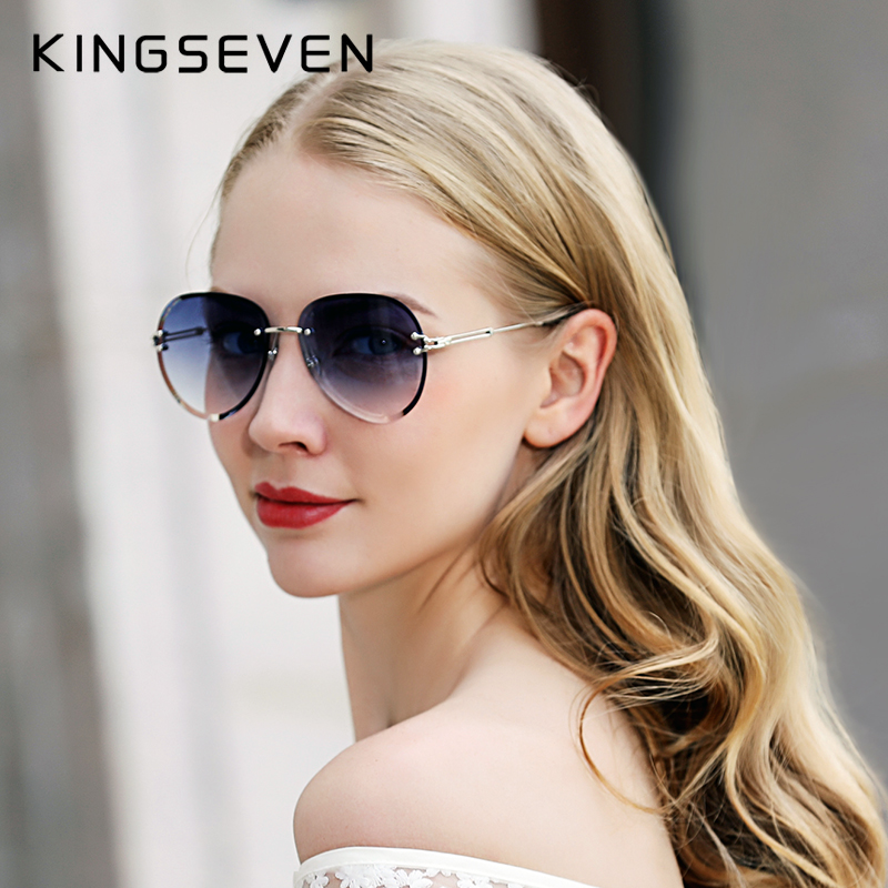 KINGSEVEN 2019 DESIGN Vintage Fashion Sun glasses Rimless Women Sunglasses Gradient Lens Brand Designer Oculos De Sol FemininoWomens Sunglasses   -