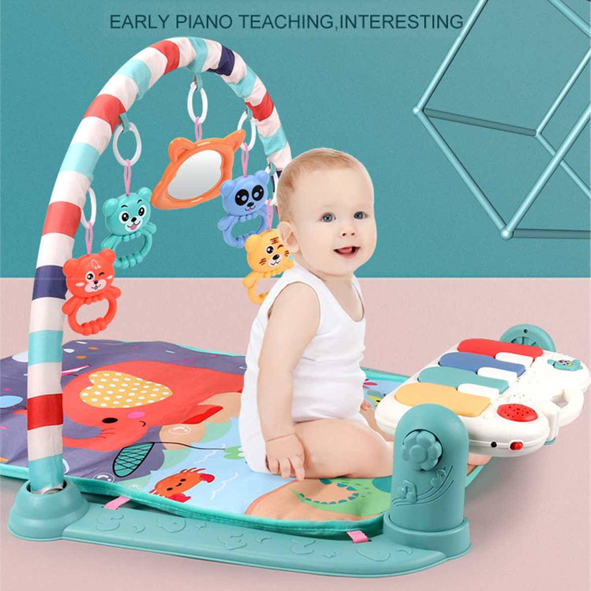 3 In 1 Baby Infant Gym Play Mat Fitness Music Piano Hanging Toy Projector Early Educational Puzzle Carpet Kids Rug  76x56x43cm