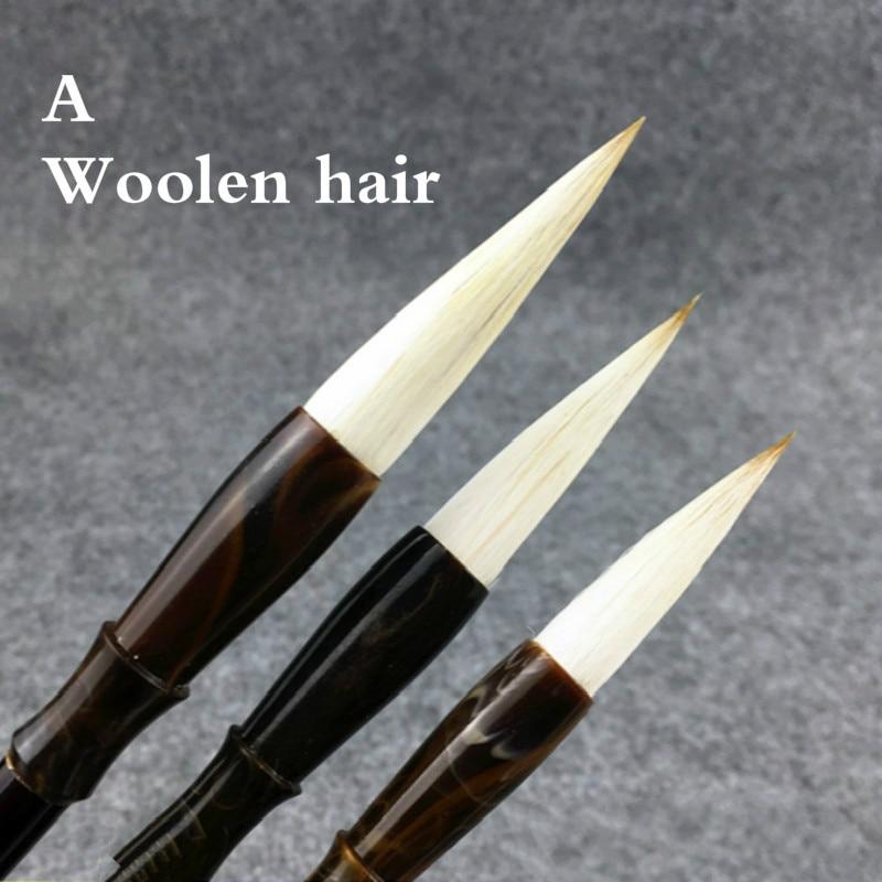 3 pcs set lobo pintura escova de cabelo caneta caneta de caligrafia caligrafia chinesa pintura a