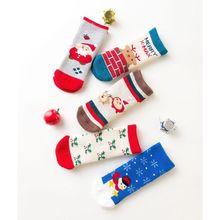 5 пар носков для малышей, хлопковые плотные Спортивные Повседневные носки на Рождество для мальчиков и девочек на осень и зиму