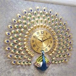 Pawie zegar ścienny kreatywny cichy zegar kwarcowy europejski dom dzienny dekoracja ścienna zegary metalowa cyfrowa ściana zegary
