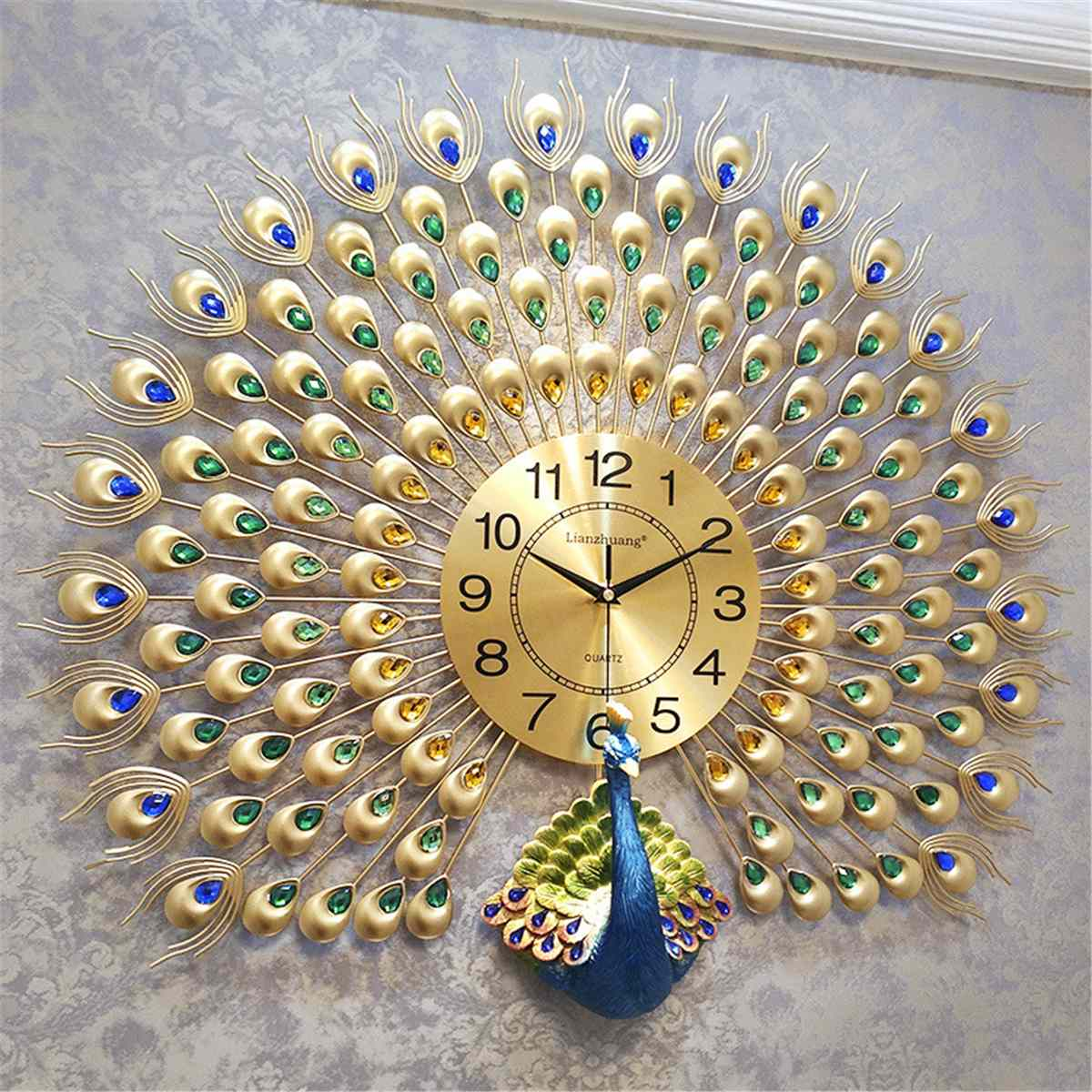 Peacocks Wall ClockCreative Silent Quartz Clock European Home Living Room Wall Decoration Clocks Metal Digital Wall Clocks