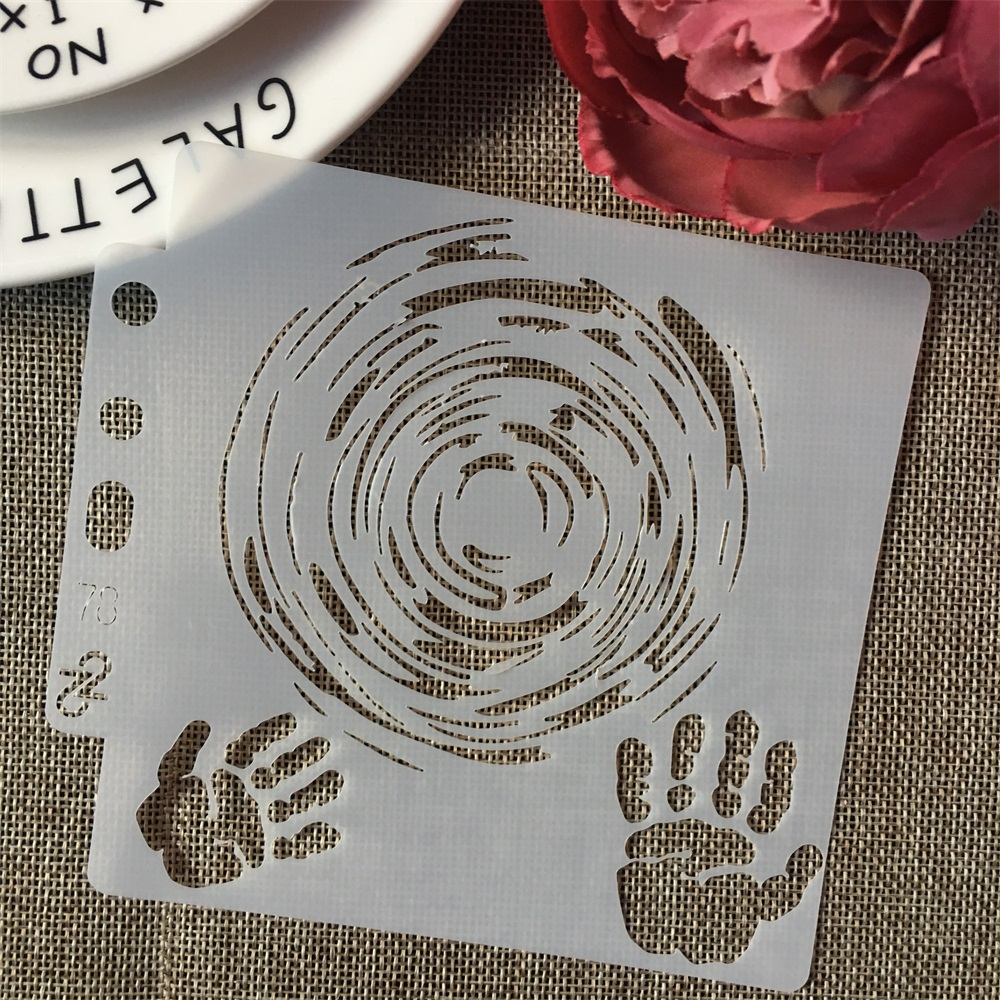 5inch Magic Hand Circle Round DIY Layering Stencils Painting Scrapbook Coloring Embossing Album Decorative Card Template