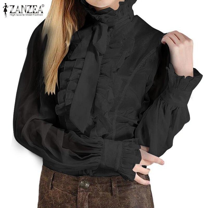 ZANZEA Vintage Ruffles Shirt Women Elegant OL Blouse Lantern Sleeve Flounce Tops Chemise Robe Femme White Blouses Blusas Mujer