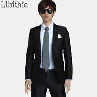 Libithia Luxury Men Wedding Suit Male Blazers Slim Fit Suits For Men Costume Business Formal Party Blue Classic Black Gift Tie