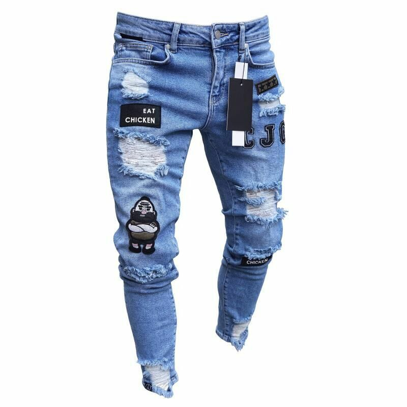 Hirigin Fashion Men's Ripped Scratch Skinny Jeans High Quality Destroyed Frayed Slim Fit Denim Pant Zipper