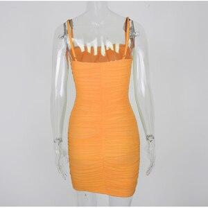 Image 5 - NewAsia robe 2 couches froncée pour femmes, bretelles Spaghetti élastique, maille moulante, Sexy, robe de plage, soirée, collection 2019
