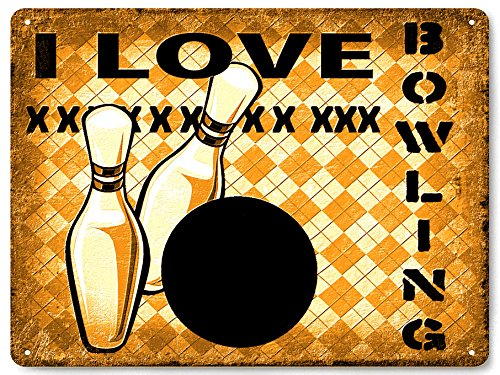 BOWLING metal sign bowling ball PINS great gift retro MANCAVE funny wall decor
