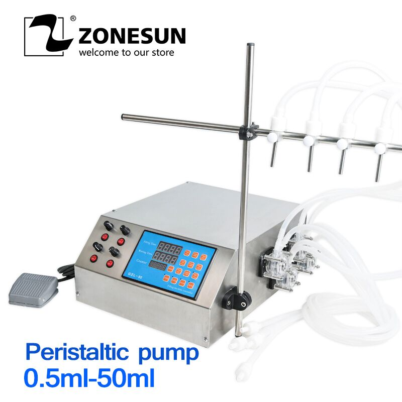 ZONESUN 4nozzle Bottle Water Filler Semi-automatic Liquid Vial Desk-top Filling Machine For Juice Alcohol Soy Sauce Oil Perfume
