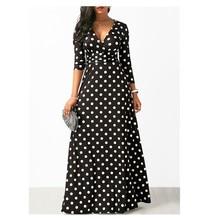 Autumn Women's Sexy Black Long Regular Sleeve Polka Dot V-ne