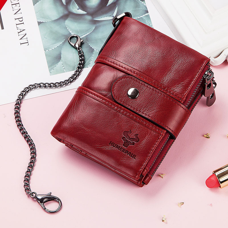 Image 5 - Free Engraving Name Cow Genuine Leather Women Wallet Female Coin Purse Chain Small Card Holder Vintage PORTFOLIO Portomonee HaspWallets   -