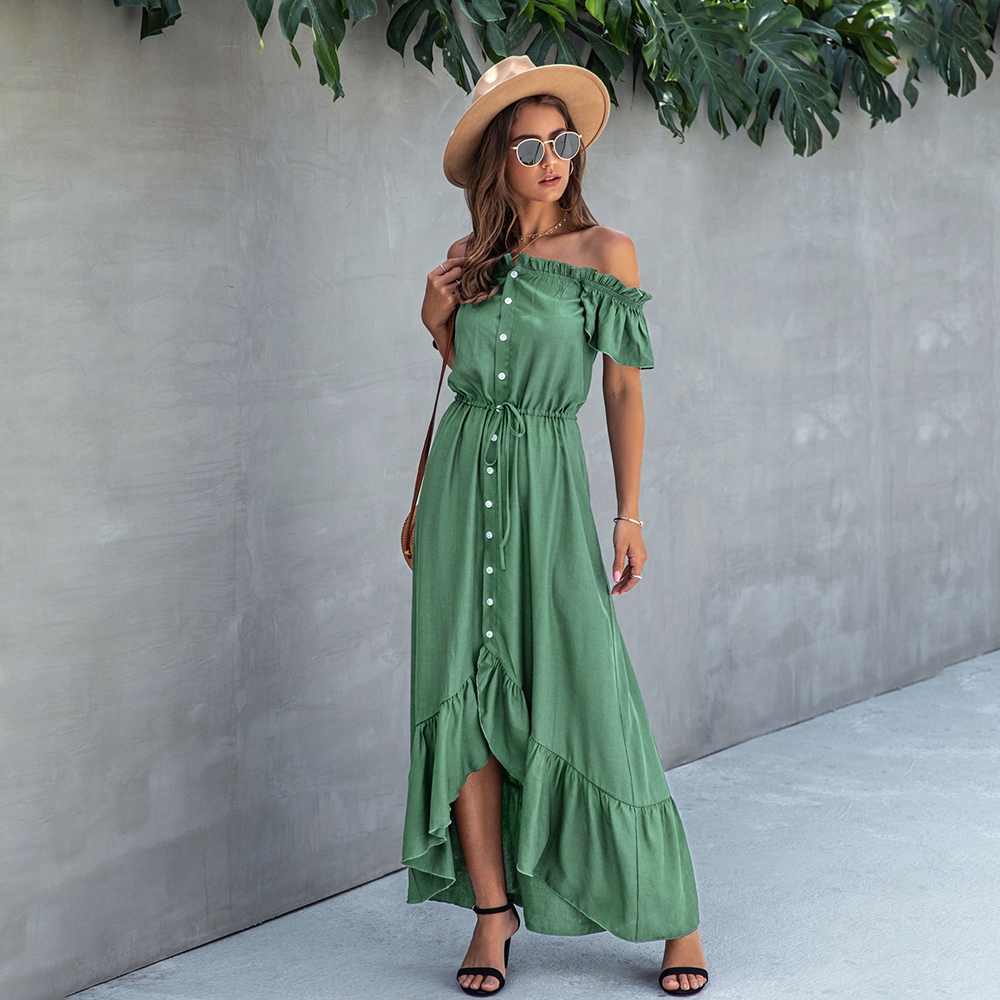 Dress Long Robe Elegant Off Shoulder Women Strapless Backless Ruffle Summer Sundresses Casual Ladies Fitted Maxi Clothing 2020 2