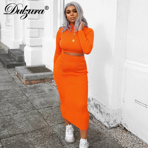 Image 2 - Dulzura 2019 autumn winter women two piece set crop top long skirt matching sets streetwear elegant clothes tracksuit co ord set