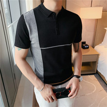 Men Polo-Shirt Short-Sleeve Stretched Top-Quality Slim-Fit Casual Summer Spring Spliced-Design