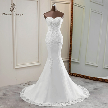Sexy Strapless wedding dress 2020 bride gowns beautiful applique vestidos de novia marriage - discount item  55% OFF Wedding Dresses