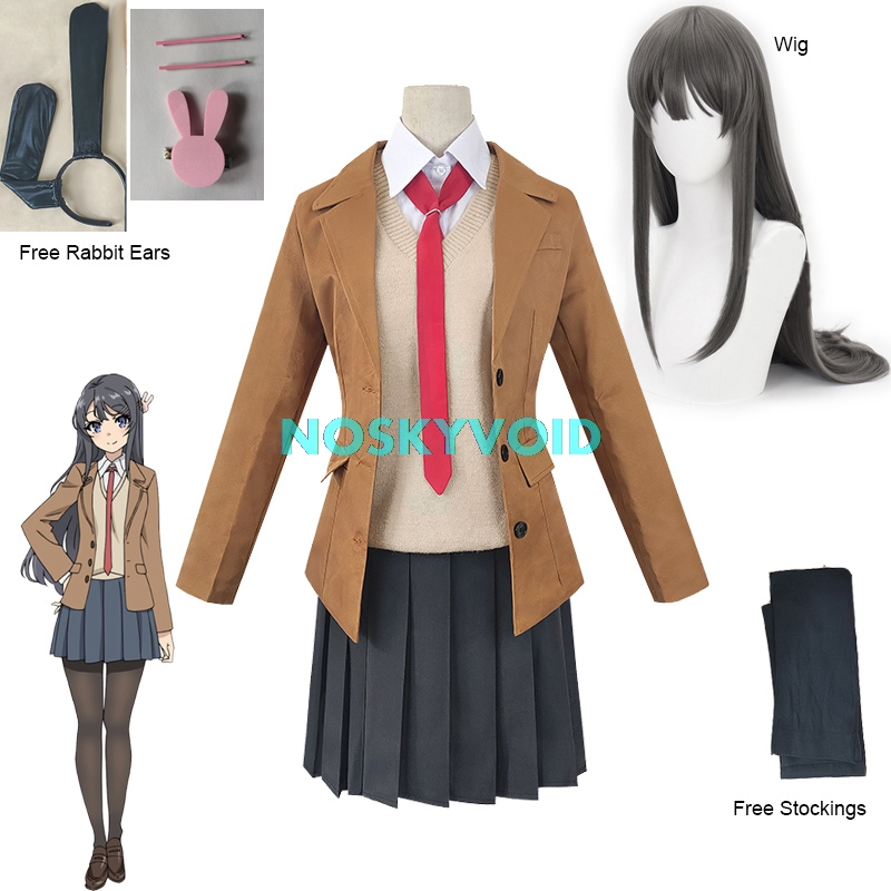Kostüm Sakurajima Mai Cosplay Perücke Seishun Buta Yarou Serie Frauen Schule Uniformen Halloween Hohe Schule Mädchen Partei Anzüge