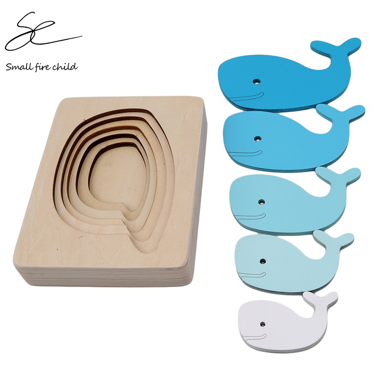 2020 New Children Toys Animal Carton 3D Puzzle Multilayer Jigsaw Puzzle Baby Wooden Toys Child Early Educational Gift