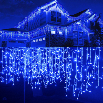 5M Christmas Lights Outdoor Waterproof Curtain Icicle Garland String Lights Droop 0.4-0.6m Decoration for Eaves Garden Lights heart led curtain lights 1 5m 5t ip44 waterproof string lights for wedding valentine s day home window wall decoration d30