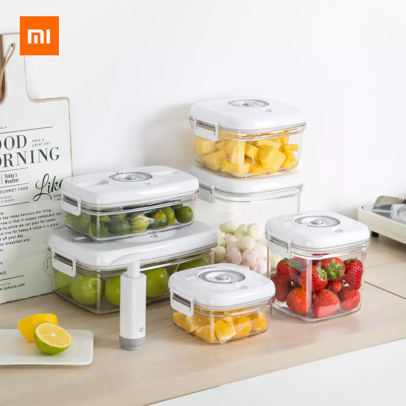 New Xiaomi Bo's Vacuum Freshness Box Fruit Box Lunch Box Portable Student Children Plastic Food Sealed Box Food Contact Material