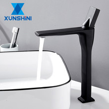 XUNSHINI Basin Faucet Brass Single Handle Hot and Cold Basin Mixer Tap Deck Mounted Bathroom Faucets Sink Faucet Crane Tap