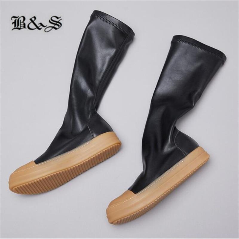 Black & Straat 38cm stretch stof + echt leer platte slip op trainer MID Kalf sok Laarzen nieuwe legergroen kleur hip hop laarzen - 6
