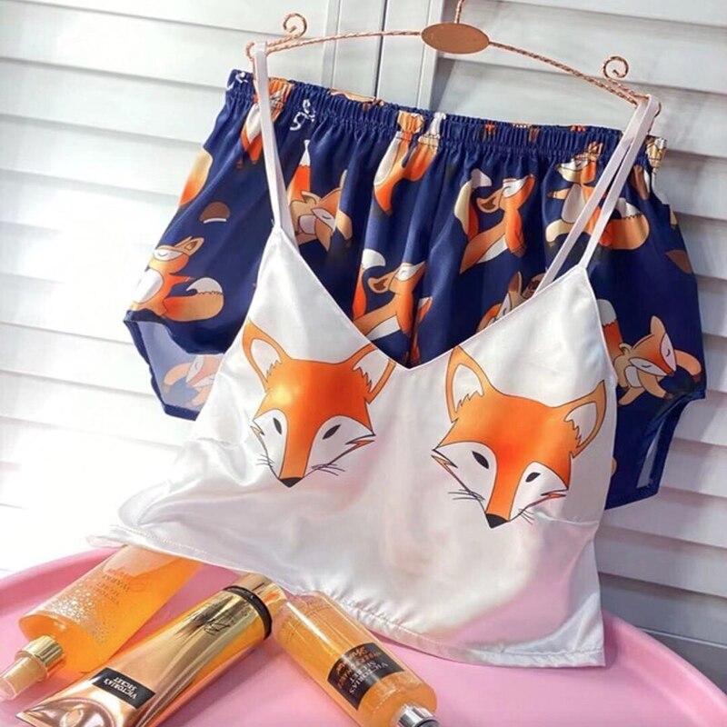 Ultimate SaleSexy Pyjamas Sleepwear Spaghetti-Strap Satin Animal Home-Suit Cat Cartoon-Print V-Neck